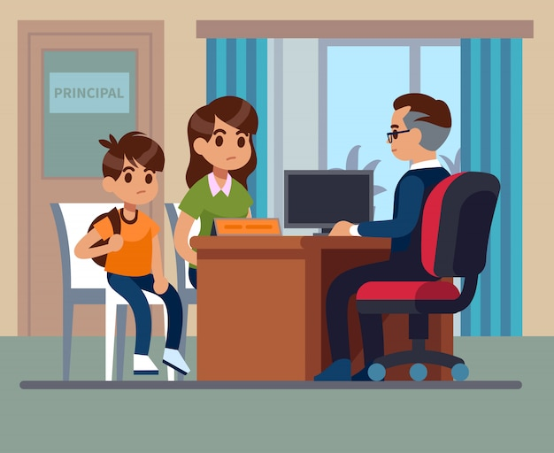 Scuola principale. genitori bambini insegnante incontro in ufficio. mamma infelice, figlio parla con preside arrabbiato. educazione scolastica