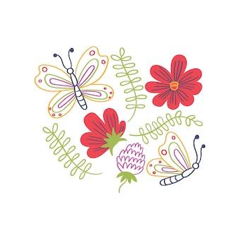 Stampa farfalle fiori foglie