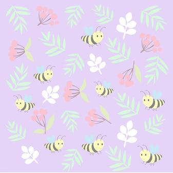 Stampa motivo ape floreale