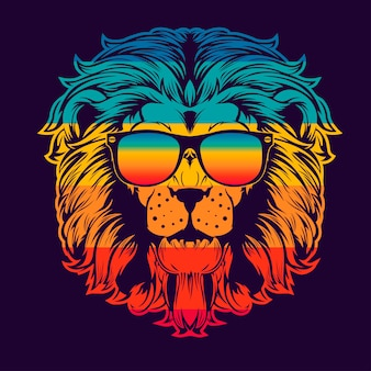 Stampa testa di leone. utilizzare per la stampa