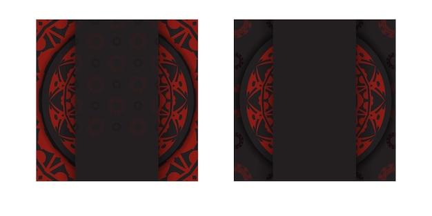 Biglietto da visita nero pronto per la stampa con motivi greci rossi. modello di biglietto da visita vettoriale con posto per il testo e l'ornamento astratto.