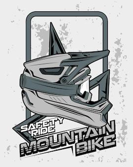 Stampa corsa di sicurezza, illustrazione casco da bicicletta in discesa