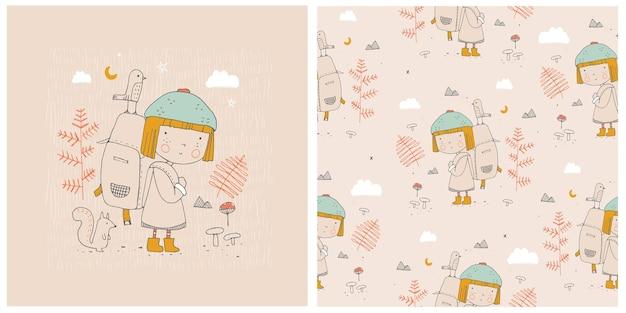 Stampa e modello senza soluzione di continuità con la bambina carina nella foresta illustrazione vettoriale disegnato a mano