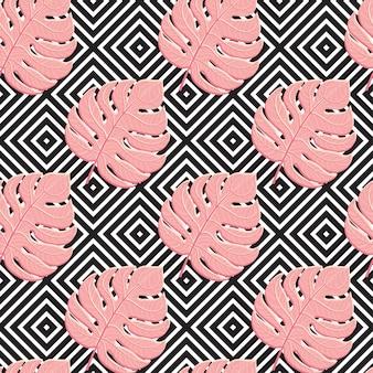 Stampa foglie di palma tropicale della pianta della giungla rossa esotica estiva. pattern, vettore floreale senza soluzione di continuità sullo sfondo geometrico bianco nero. carta da parati della natura. eps10