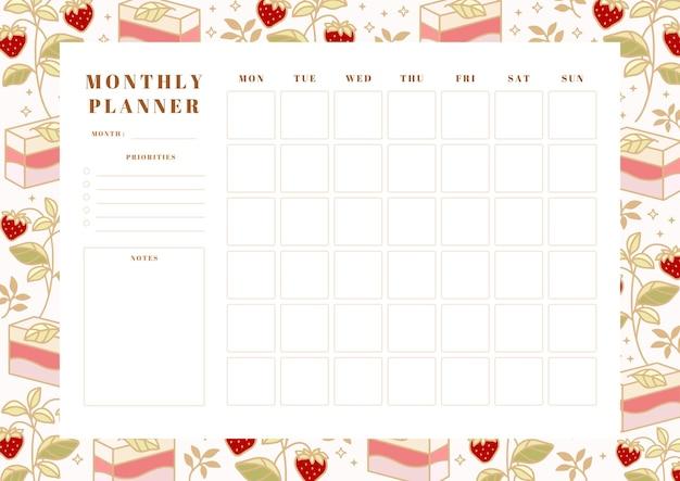 Agenda mensile stampabile, modello di pianificazione scolastica con torta disegnata a mano, elementi floreali e fragola