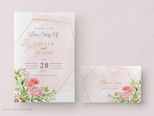 Modello di carta di invito matrimonio stampabile con bella mano floreale disegnata