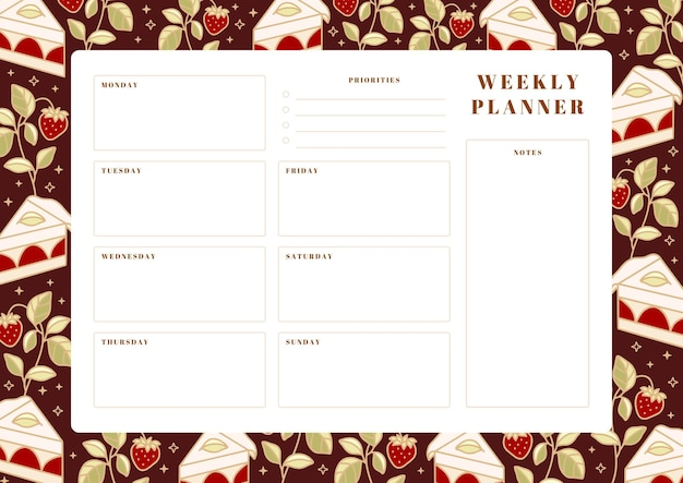 Agenda settimanale stampabile, modello di pianificazione scolastica con torta disegnata a mano, elementi floreali e fragola