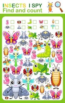Foglio di lavoro stampabile per la pagina del libro dell'asilo e della scuola materna spio il conteggio degli insetti