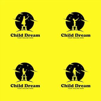 Stampa per bambini sogno logo silhouette design