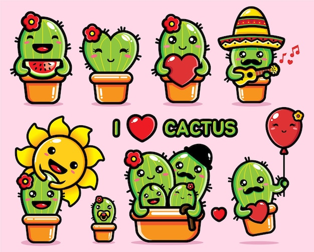 Stampa simpatico pacchetto di personaggi di cactus