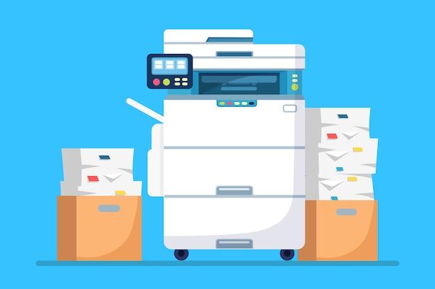 Stampante, macchina da ufficio con carta, pila di documenti. scanner, fotocopiatrice.