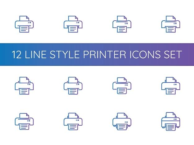 Set di icone simbolo della stampante