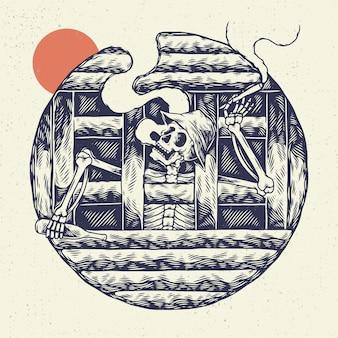 Cranio di scheletro dell'illustrazione del disegno a mano, il concetto dallo scheletro che fuma sulla prigione con la birra della bottiglia sulla mano.