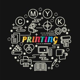 Stampa sfumatura colorata con set di icone di linea