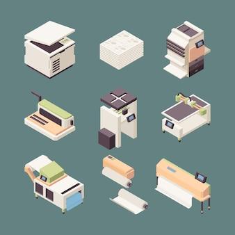 Attrezzature per la stampa. rotoli di plotter per stampanti offset per l'industria della carta, taglierina a getto d'inchiostro, piegatrici pieghevoli, vettore isometrico. stampante a getto d'inchiostro isometrica dell'attrezzatura, illustrazione del dispositivo del computer dello scanner