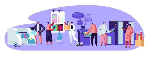 Agenzia pubblicitaria della tipografia, composizione dell'industria della poligrafia con caratteri umani. clienti, designer, lavoratori che producono materiale pubblicitario consumabile colorato per la stampa cartoon flat vector illustration