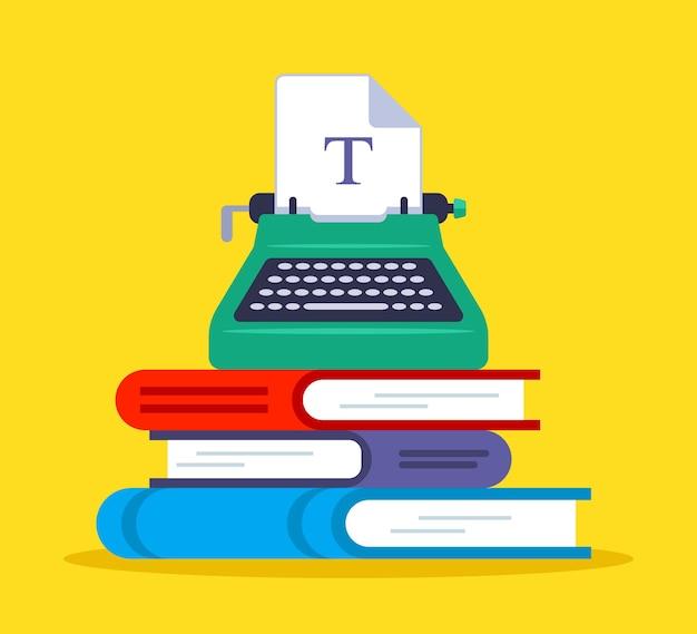 Una macchina da stampa su una montagna fatta di libri. attività di scrittura. illustrazione vettoriale piatto. Vettore Premium