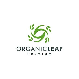 Printorganic foglia logo design vettoriale. foglie della natura