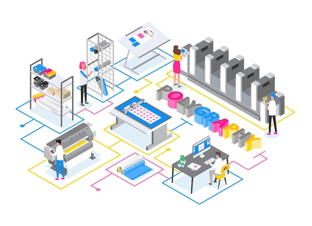 Tipografia o centro servizi di stampa con uomini e donne che lavorano con plotter, stampanti offset e a getto d'inchiostro e altre apparecchiature elettroniche