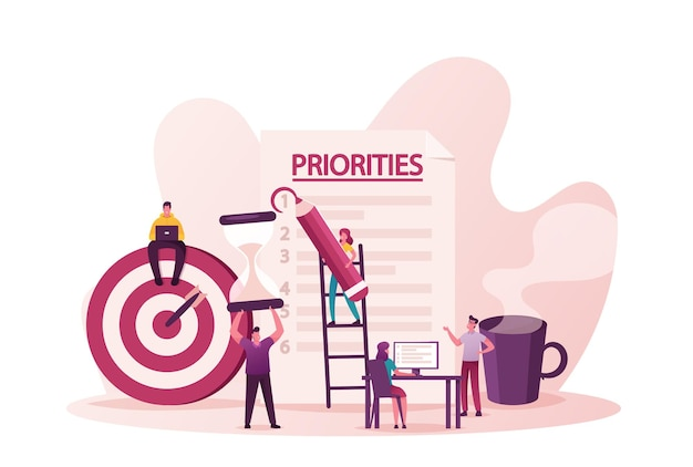 Priorità organizzare l'illustrazione. piccoli personaggi di uomini e donne mettono i compiti su carta per un'efficace pianificazione quotidiana, pianificazione del processo di lavoro
