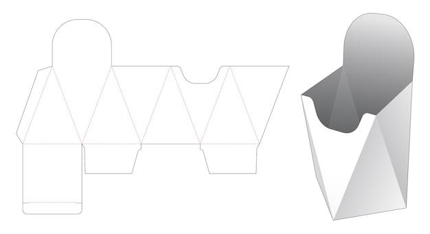 Modello fustellato contenitore fritto francese a forma di prisma