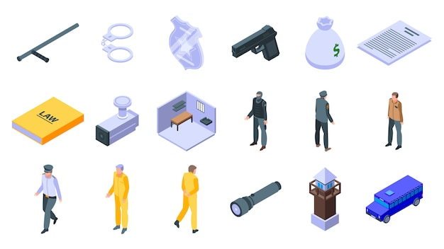 Set di icone di prigione, stile isometrico
