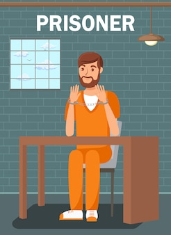 Prigioniero che si siede nel modello di poster piatto cella di prigione