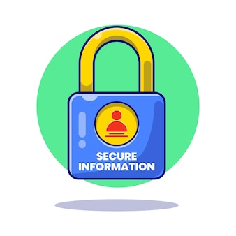 Illustrazione di privacy garantita. lucchetto con informazioni sicure