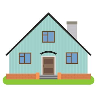 Casa privata con camino su sfondo bianco. illustrazione vettoriale.