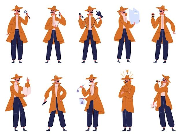 Investigatore privato. detective maschio in diverse pose di azione, ispettore di polizia indagare sul crimine. set di caratteri detective. posa da detective, personaggio di investigatore privato