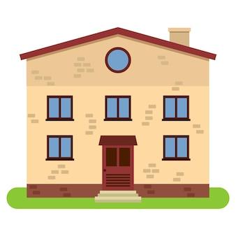 Casa privata a due piani con camino su sfondo bianco. illustrazione vettoriale.