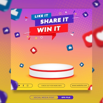 Modello di banner per social media del concorso di invito a premio