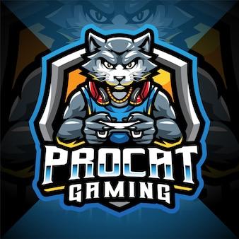 Logo della mascotte di esport di gioco del gatto professionale