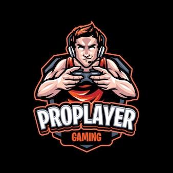 Modello di logo della mascotte di gioco del giocatore professionista