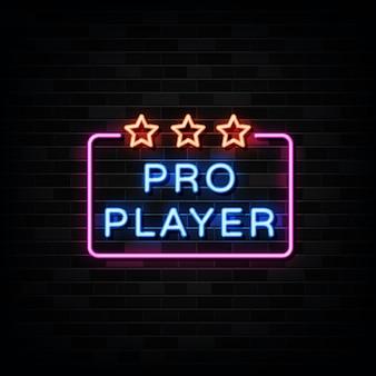 Illustrazione dell'insegna al neon del giocatore professionista