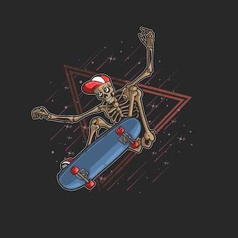 Scheletro pro skater saltando illustrazione freestyle