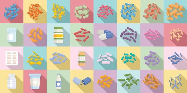 Probiotici set di icone vettore piatto. stomaco prebiotico