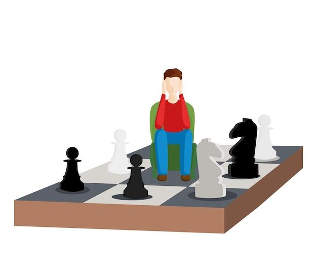Problema di scelta. passare agli scacchi. illustrazione vettoriale piatta