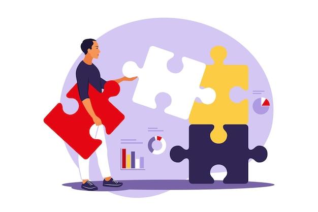 Concetto di illustrazione del puzzle di risoluzione dei problemi
