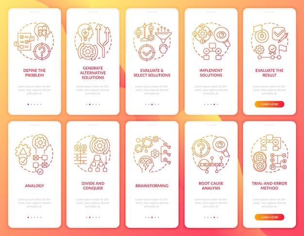 Risoluzione dei problemi della schermata della pagina dell'app mobile di onboarding rossa con set di concetti. valuta la procedura dettagliata dei risultati 5 istruzioni grafiche.