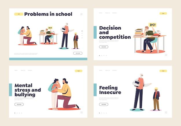 Problemi a scuola insieme di pagine di destinazione con il concetto di violenza, abusi, bullismo e pressione a scuola e bambini piccoli durante le lezioni. pagina di destinazione