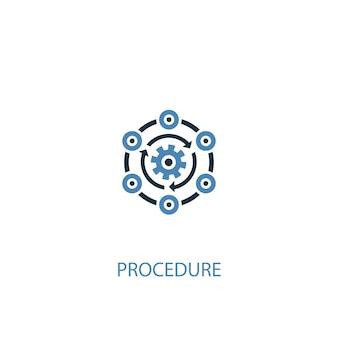 Concetto di procedura 2 icona colorata. illustrazione semplice dell'elemento blu. disegno di simbolo del concetto di procedura. può essere utilizzato per ui/ux mobile e web