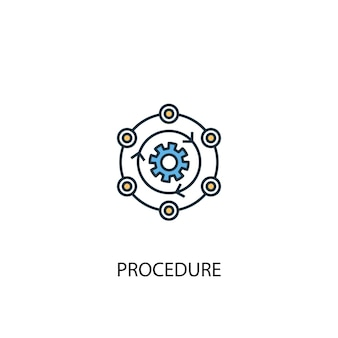 Concetto di procedura 2 icona linea colorata. illustrazione semplice dell'elemento giallo e blu. disegno del simbolo del contorno del concetto di procedura