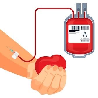 Processo di donazione di sangue a mano umana con cuore rosso e sacchetto di plastica con cellule di sanguinamento collegate a