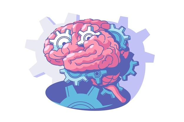 Il processo di illustrazione vettoriale di attività cerebrale esplora lo stile piatto della mente umana all'interno del processo di pensiero della testa delle persone e del concetto di brainstorming isolato