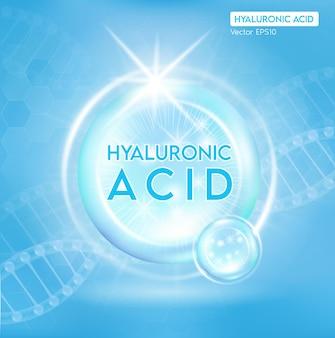 Processo di ringiovanimento della pelle con l'aiuto di soluzioni per la pelle di acido ialuronico, goccia di siero di collagene arancione con sfondo pubblicitario cosmetico.