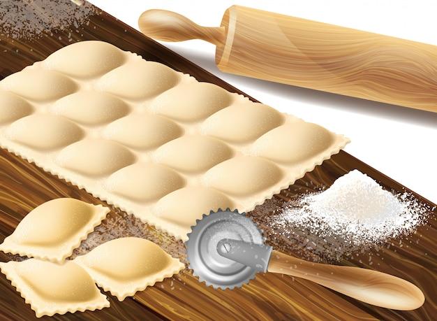 Processo di preparazione dei ravioli, cucina tradizionale italiana.