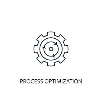 Icona della linea del concetto di ottimizzazione del processo. illustrazione semplice dell'elemento. disegno di simbolo di contorno del concetto di ottimizzazione del processo. può essere utilizzato per ui/ux mobile e web