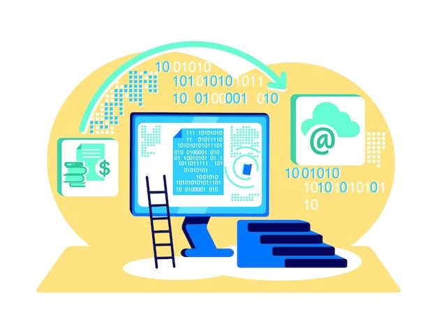 Elaborazione del concetto piatto codice binario illustrazione