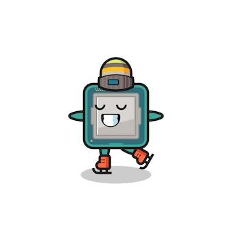 Cartone animato processore come un giocatore di pattinaggio sul ghiaccio che si esibisce, design in stile carino per maglietta, adesivo, elemento logo